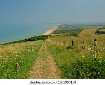 Path through the lush green fields on the cliffs of the French opal coast along North Sea
