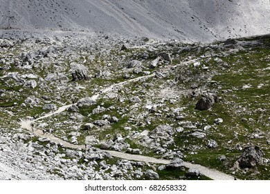 Path through the scree and talus in the mountains