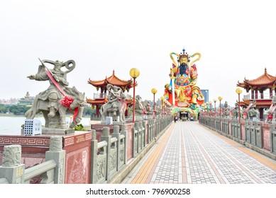 Path Towards Xuan Tian Shang Di Statue at the Lotus Lake in Kaohsiung, Taiwan