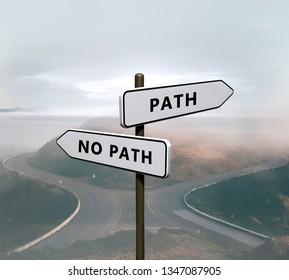 Path vs no path sign