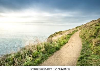 Path walking track overlooking ocean horizon. Godley head walk way trail near Taylors Mistake beach Christchurch, New Zealand