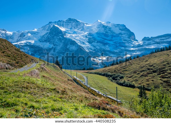 Path way in Swiss alps above  Grindelwald.