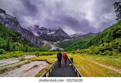 path to yading mountain, china