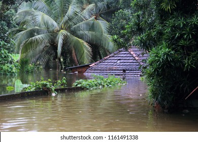 PATHANAMTHITTA, INDIA - AUG 16:Shops and buildings are submerged in the flood water on August 16,2018 in Pathanamthitta,Kerala, India. Kerala is badly affected by the floods during the monsoon season