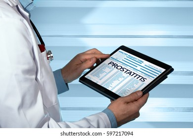 Pathologist consulting medical record on the tablet with text prostatitis in the diagnostic / urologist with a prostatitis diagnosis in digital medical report