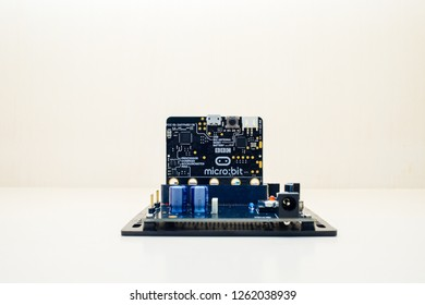 Pathum Thani, Thailand - DEC 7 2018 : BBC Micro bit is a small electronic device used to learn modern technology as a basis for programming in computer science and computing. Concept code for kid.
