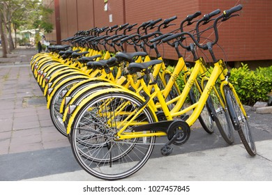 PATHUM THANI - THAILAND - FEBRUARY 18,2018 : Ofo bikes are parked beside the building at Thammasat University Rangsit campus, Ofo is no station sharing bike service provider.