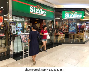 Pathum Thani, Thailand - February 5, 2019: Unidentified people waiting for eat at Sizzler restaurant, Sizzler is an famous restaurant in Thailand.