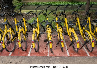 Pathum Thani, Thailand - January 11, 2018 : Ofo bikes are parked on the side of the road. Ofo is a bike-sharing service provider.