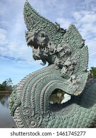Pathum Thani, Thailand - July 1, 2019 :  Believe in serpent, Believe in Thai Dragon or Serpent King or King of Naga and Mystery at Wat Pa Klong 11(Wat Pa Kham Chanod2) Naga statue Religious beliefs Is