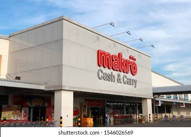 Pathum Thani, Thailand - Oct 31, 2019: The sign in front of Makro wholesale store, It is the Cash & Carry Operator trade center with many branches in Thailand.