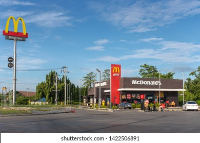 Pathum Thani,Thailand June 11, 2019 McDonald's PTT Sam Khok in Pathum Thani,Thailand. McDonald stores drive thru open 24 hours.