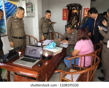 Pathum Thani/Thailand - June 8, 2018; The raid on electronic wastes in Thailand. The deputy commissioner-general of the Royal Thai Police leads in the raid of illegal e-watse in Thailand.