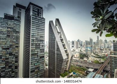 Pathum Wan,Bangkok,Thailand on March 16,2019:Beautiful landscape,showing Noble Ploenchit condominium,Rosewood Hotel & Resort and Bangkok skyline.