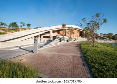 PATHUMTANI, THAILAND - February 16, 2020 : Puey Ungphakorn Centenary Hall, Thammasat University Rangsit campus, It is the famous university in Thailand.