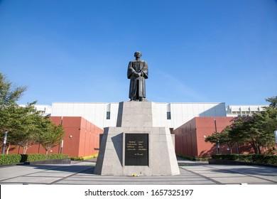 PATHUMTANI, THAILAND - February 16, 2020 : Puey Ungphakorn Monument,Thammasat University Rangsit campus, It is the famous university in Thailand.