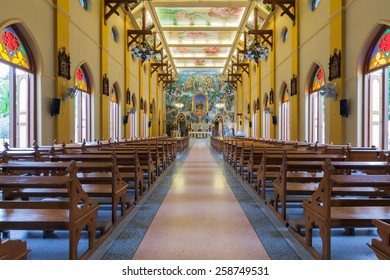 PATHUMTANI, THAILAND - FEBRUARY 28 : The interiors of Catholic church, It was built with French Style since 1910, people can pray for god jesus in there, at Pathumtani,Thailand on February 28, 2015