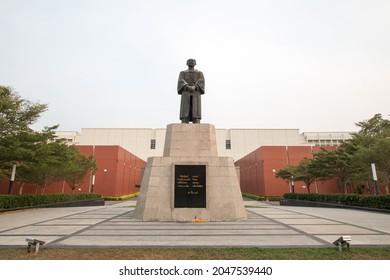 PATHUMTANI, THAILAND - February 9, 2020 : Puey Ungphakorn Monument,Thammasat University Rangsit campus, It is the famous university in Thailand.