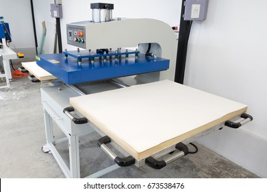 Pathumthani, Thailand - Feb 27, 2017 : Large heat press machine for fabric business in printing factory at Lumlukka, pathumthani Thailand. Editorial Used Only.