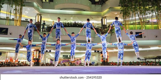 Pathumthani, Thailand - FEBRUARY 18, 2015 : The Chinese Acrobats Of Xinjiand perform at Future Park Rangsit.