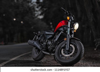 PATHUMTHANI, THAILAND - JUNE 10, 2018, HONDA REBEL 300 CC. vinatge motorbike take fashion photo, PATHUMTHANI, THAILAND