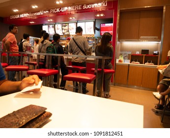 Pathumthani, Thailand - MAY 16, 2018: Peple waiting at KFC Fast