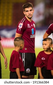 PATHUMTHANI THAILAND-MAY 05:Matej Rapnik of Police Utd. poses during a Thai Premier League match between Police Utd.and Songkhla Utd.at Thammasat Stadium on May 05,2014,Thailand