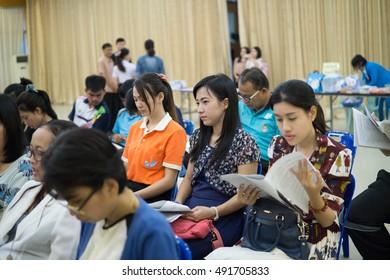 PATHUMWILAI SCHOOL,AMPHOE LAT LUM KAEO,PATHUMTANI THAILAND SEPTEMBER,2016 : Unidentified people join to monthly meeting on September 28,2016 in Pathumwilai school,Patumtani,Thailand.