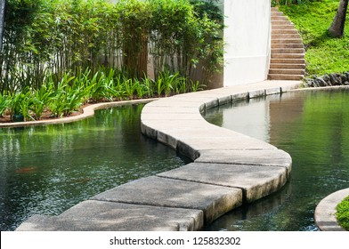 a pathway across a man made pond