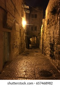 Pathway back of the alley toward Al-aqsa mosque complex taken at dawn in Jerusalem