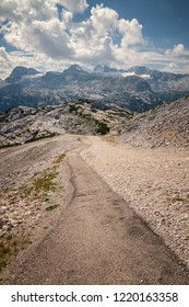 Pathway with beautiful scenario of hill Dachstein