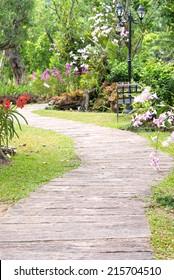 Pathway in flower garden
