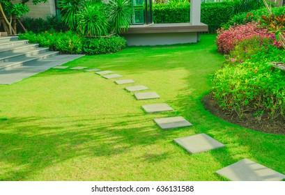 Pathway in garden, Green lawns with bricks pathways, Garden landscape design