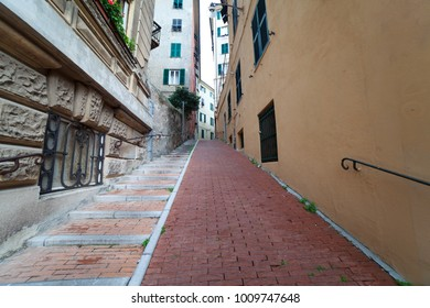 Pathway in Genoa city, Italy.