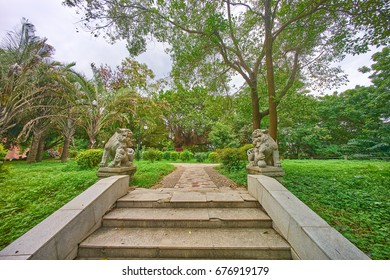The pathway in Huizhou city Zhongshan Park, two historial stone lion on it