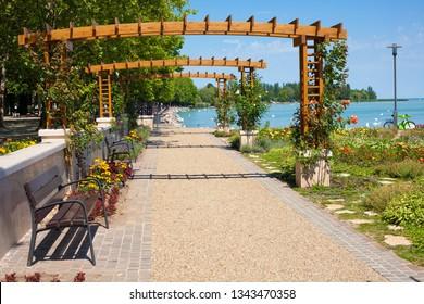 Pathway  to lake Balaton in Balatonfured, Hungary