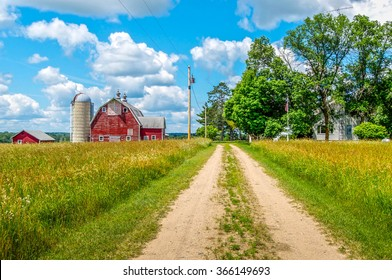 A pathway leads to a small Minnesota farm.