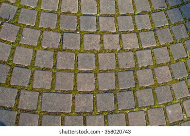 Pathway made of stone bricks in a pattern