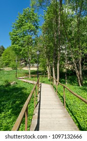 Pathway made of wooden planks with railing and lamps over green meadow leading toward the trees