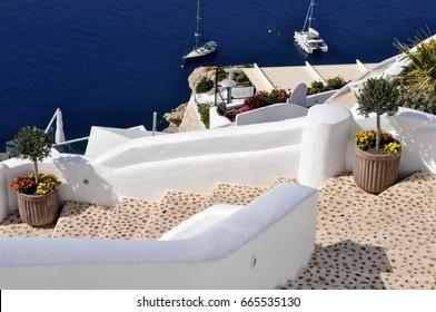Pathway in Oia  on the island Santorini in Greece