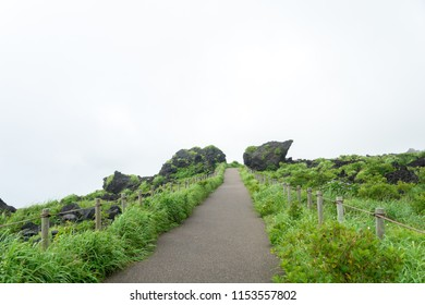 pathway on the top of Mount Mihara with fog on the izu oshima island that still active.