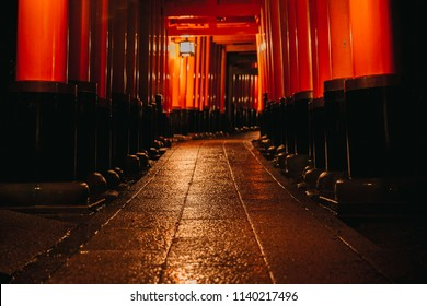 Pathway orii gates at Fushimi Inari Shrine at night and rain Kyoto, Japan.