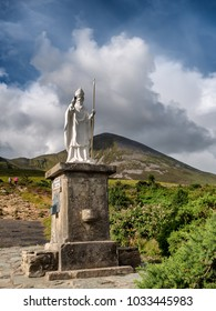 Pathway start with statue to Croagh Patrick in Westport Ireland