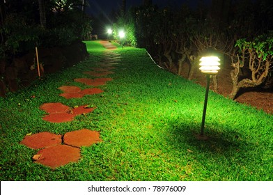 pathway stones in a beautiful garden walkway with lamps at night