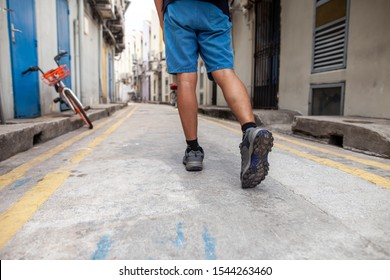Pathway to success concept a man walk on road in the midtown go to   destination with space area for write some text on background meaning walk to success concept