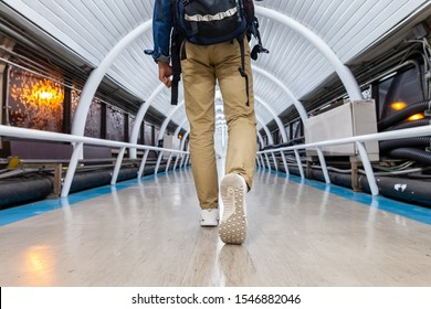 Pathway to success concept a man walk on  the walkway go to the   destination with space area for write some text on background meaning walk to success concept