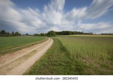 Pathway through rural landscape