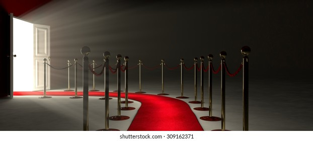 Der Weg zum Triumph ist ein Weg, der durch einen beleuchteten roten Teppich, rote Samtseilbarriere und goldene Stützen begrenzt wird. Der Fußweg beginnt vor Ihnen und führt zu einer weißen, offenen Tür.