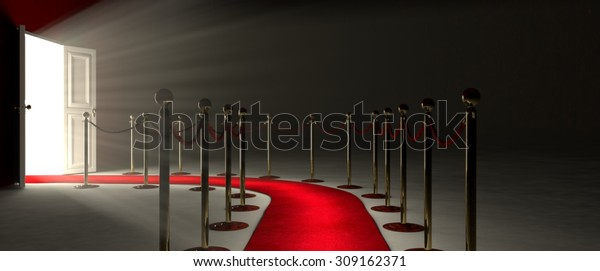 Pathway for triumph is a path delimited by an illuminated red carpet, red velvet rope  barrier and golden supports. The footpath starts in front of you and leads you to a white open door.