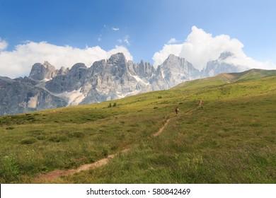 Pathways to Segantini hut (Dolomites)